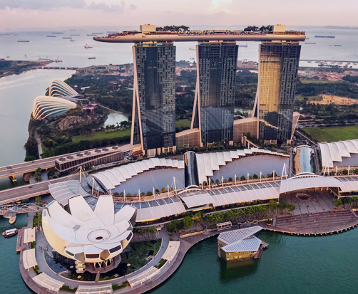 The view of Marina Bay Sands in Singapore, one of ECOMMPAY offices is located in Asia.