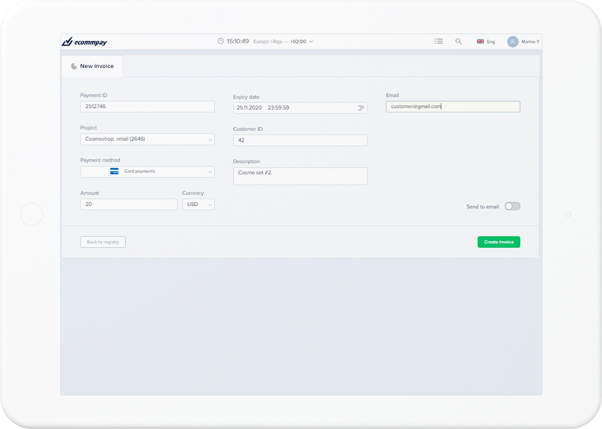 example of creating a custom payment link