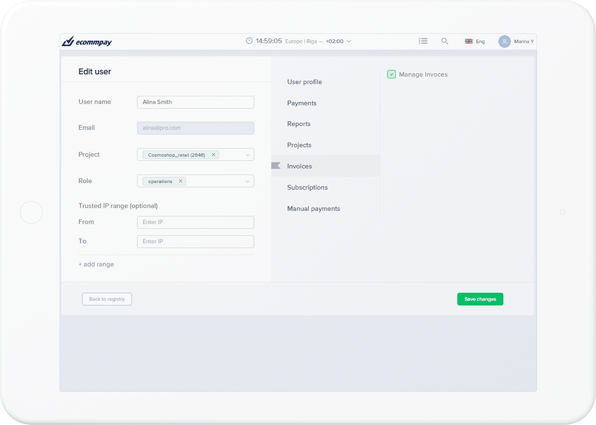 setting up pay by link user permissions in merchant dashboard