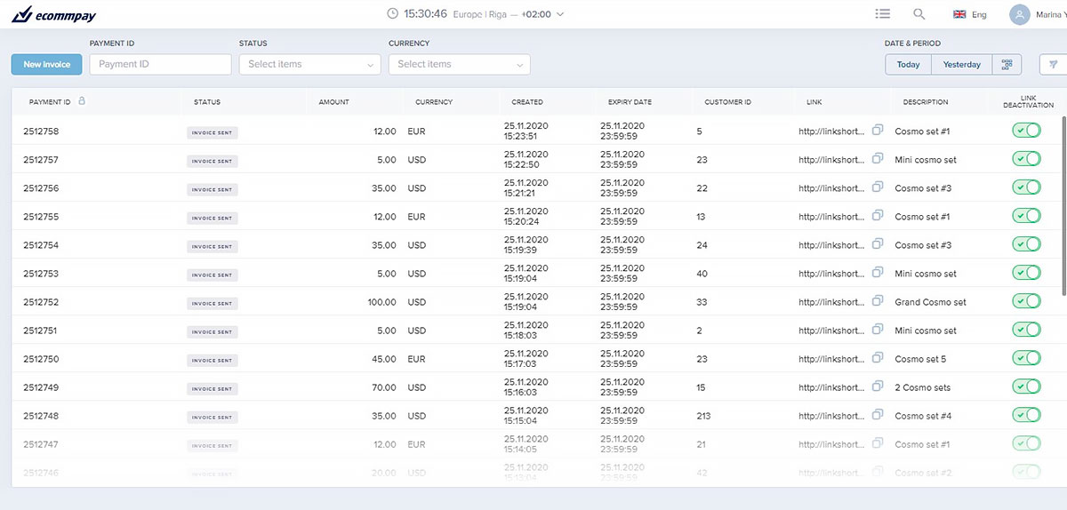 example of the list with active payment links visible in the merchant dashboard