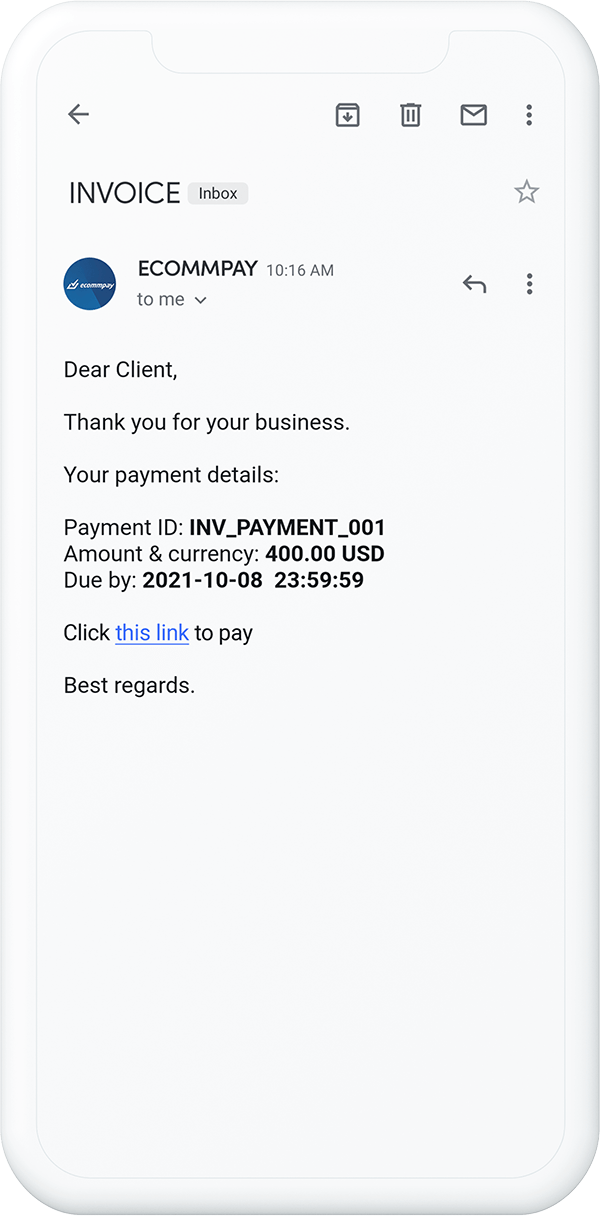 example of a message with a custome payment link sent to customer